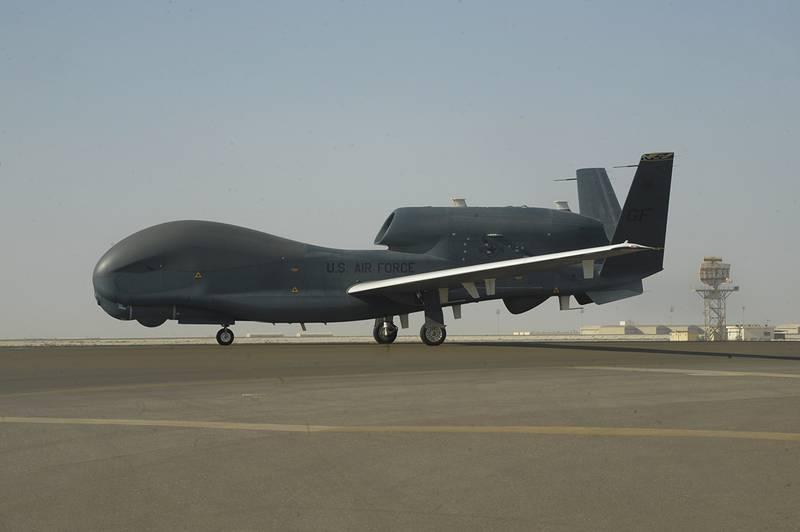 an RQ-4 Global Hawk is seen on the tarmac of Al-Dhafra Air Base near Abu Dhabi, United Arab Emirates.