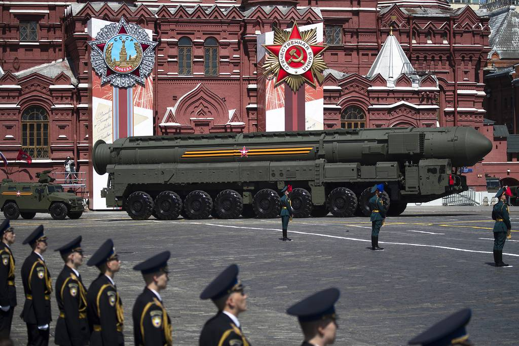 Russian Army RS-24 Yars ballistic missile makes its way through the Red Square during the Victory Day military parade marking the 75th anniversary of the Nazi defeat in WWII, in Moscow on June 24, 2020.