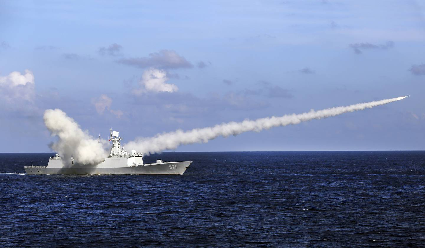 In this July 8, 2016, file photo released by Xinhua News Agency, Chinese missile frigate Yuncheng launches an anti-ship missile during a military exercise in the waters near south China's Hainan Island and Paracel Islands.