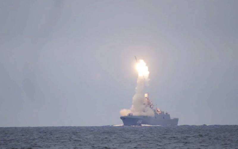 The Russian Zircon hypersonic cruise missile is launched from the Admiral Groshkov frigate on Oct. 7, 2020, in the White Sea.