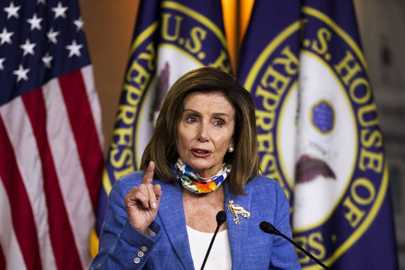 House Speaker Nancy Pelosi of Calif., speaks during a news conference on Capitol Hill on July 2, 2020, in Washington.
