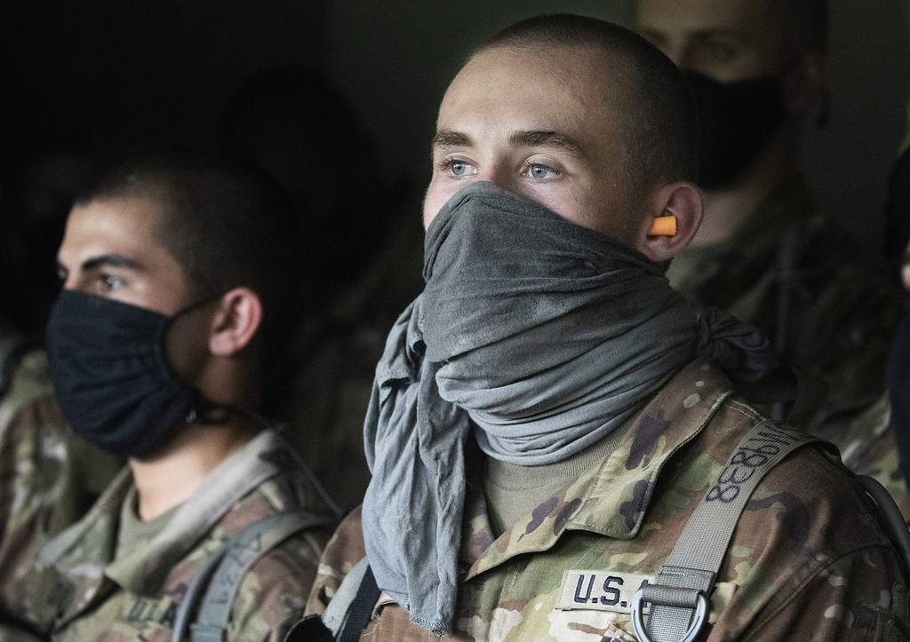 Cadets watch a hand grenade drill, Friday, Aug. 7, 2020, at the U.S. Military Academy in West Point, N.Y.