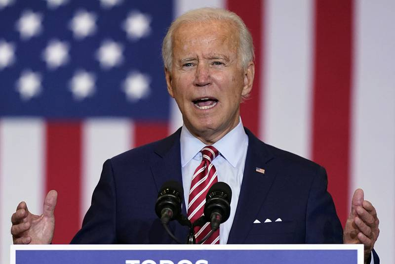 Democratic presidential candidate former Vice President Joe Biden speaks during a Hispanic Heritage Month event, Tuesday, Sept. 15, 2020, at Osceola Heritage Park in Kissimmee, Fla.