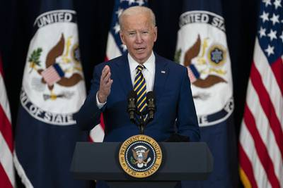 President Joe Biden delivers remarks to State Department staff onFeb. 4, 2021, in Washington.