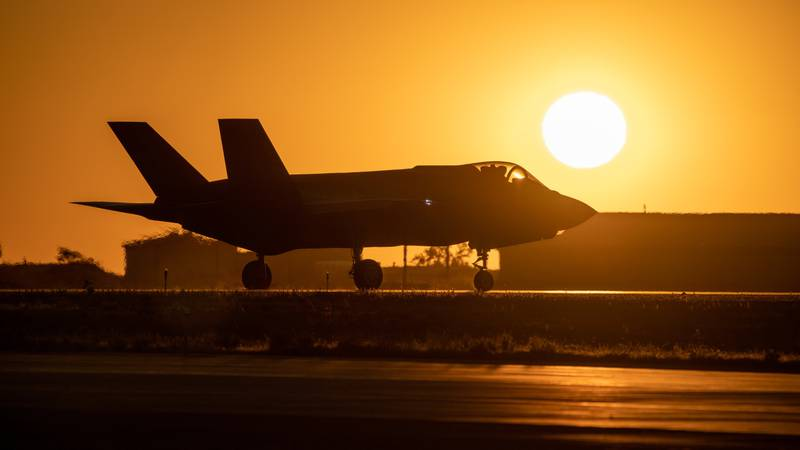 An F-35A taxis in front of the setting sun prior to take off from Hill Air Force Base, Utah, the evening of Aug. 20, 2019.