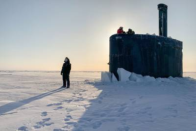 The USS Toledo (SSN-769) arrives at Ice Camp Seadragon on the Arctic Ocean on March 4, 2020, kicking off Ice Exercise (ICEX) 2020.
