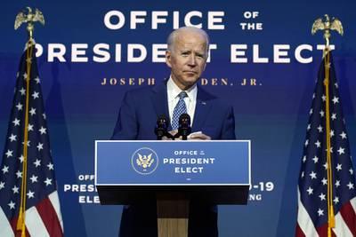 President-elect Joe Biden speaks Monday, Nov. 9, 2020, at The Queen theater in Wilmington, Del.