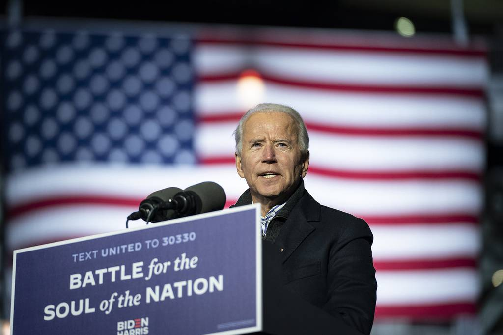 Democratic presidential nominee Joe Biden speaks during a drive-in campaign rally at Heinz Field on Nov. 02, 2020, in Pittsburgh, Pa.