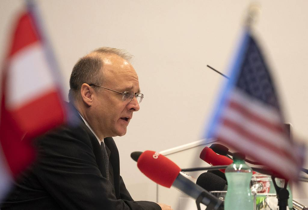 Marshall Billingslea, U.S. special presidential envoy for arms control, looks on during a press conference on June 23, 2020 in Vienna after the U.S. and Russia met for talks on their last major nuclear weapons agreement.