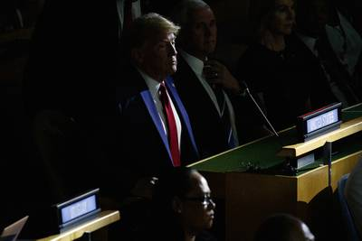 President Donald Trump listens during the United Nations Climate Action Summit