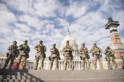 Virginia National Guard airmen assigned to the 192nd Security Forces Squadron, 192nd Mission Support Group, 192nd Wing help to secure the grounds near the U.S. Capitol, Jan. 13, 2021, in Washington.
