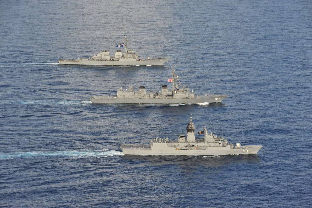 Arleigh Burke-class guided-missile destroyer John S. McCain joined the Royal Australian Navy and Japan Maritime Self Defense Force in the South China Sea for multinational exercises, Oct. 19, 2020.