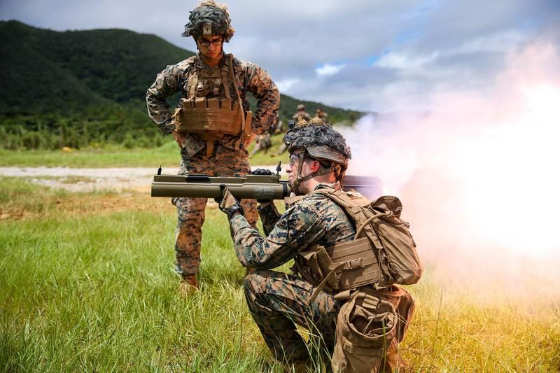 U.S. Marines fire at targets during a high-explosive weapons range on Camp Schwab, Okinawa, Japan, June 27, 2020.