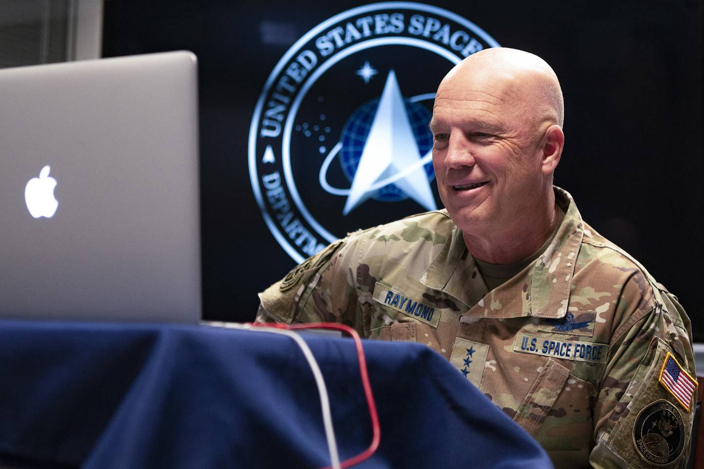 U.S. Space Force's chief of space operations, Air Force Gen. John W. Raymond, participates in a virtual fireside chat with the Center for a New American Security while at the Pentagon on July 24, 2020.
