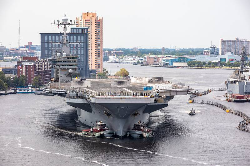 The aircraft carrier USS Harry S. Truman (CVN 75) arrives at Norfolk Naval Shipyard in Portsmouth, Va., July 7, 2020, for an extended carrier incremental availability.