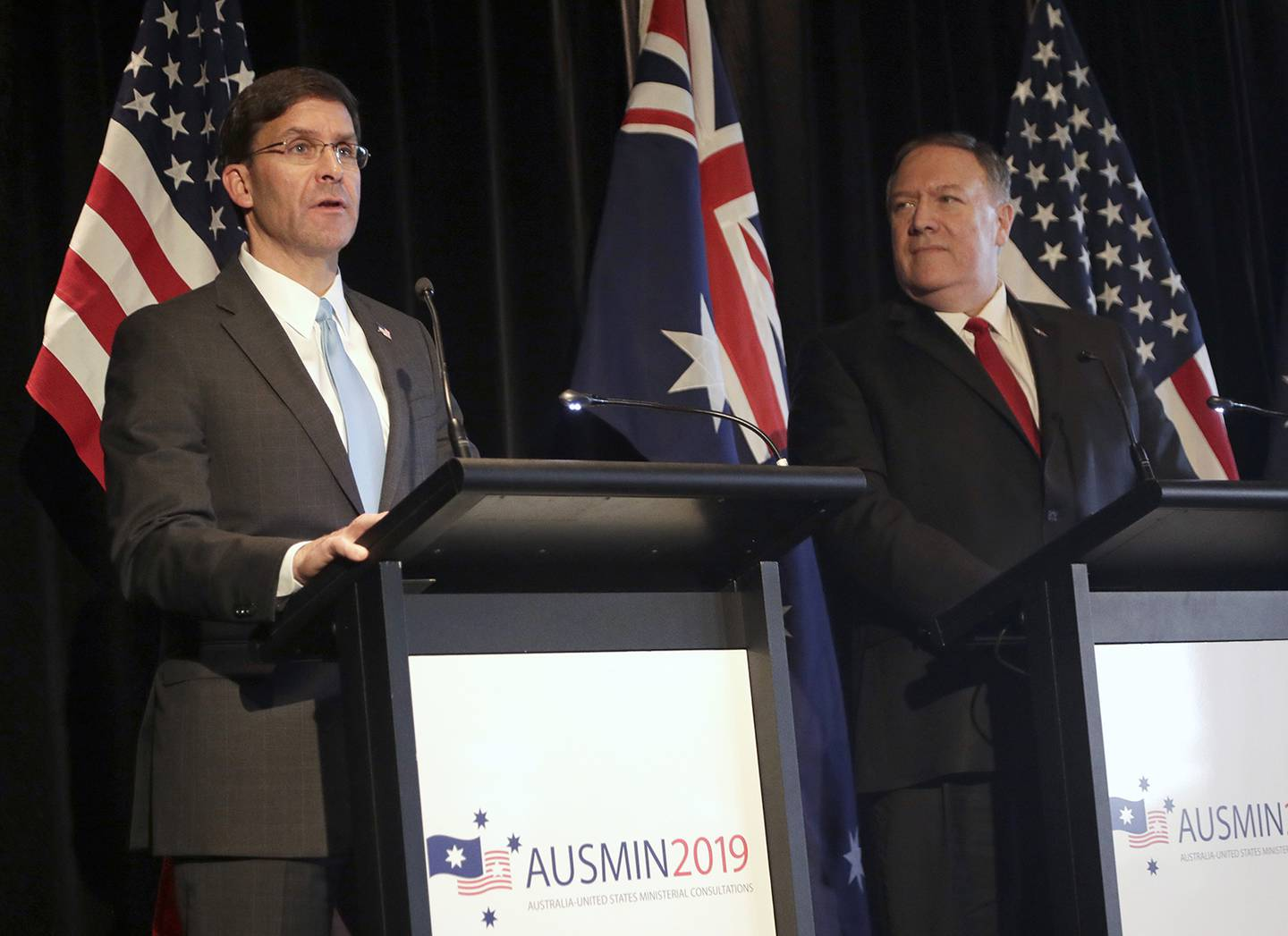 U.S. Secretary of Defense Mark Esper, left, and U.S. Secretary of State Mike Pompeo brief the media at a press conference following annual bilateral talks with Australian counterparts in Sydney, Australia, Sunday, Aug. 4, 2019.