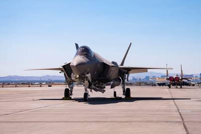 An F-35A Lightning II carrying a B61-12 Joint Test Assembly sits on the flight line at Nellis Air Force Base, Nevada, Sept. 21, 2021. Two F-35A Lightning II aircraft released B61-12 Joint Test Assemblies during the first full weapon system demonstration, completing the final flight test exercise of the nuclear design certification process. (Airman 1st Class Zachary Rufus/Air Force)