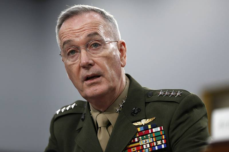 In this May 1, 2019, file photo, Joint Chiefs of Staff Chairman Gen. Joseph Dunford testifies during a House Appropriations subcommittee on budget hearing on Capitol Hill in Washington.