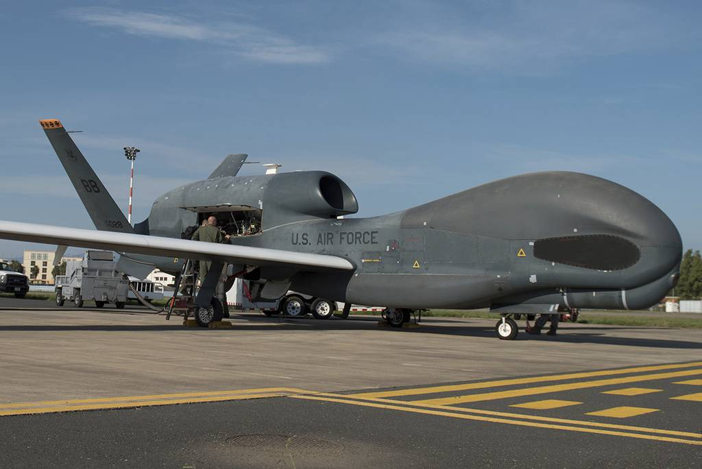 members of the 7th Reconnaissance Squadron prepare to launch an RQ-4 Global Hawk at Naval Air Station Sigonella, Italy.