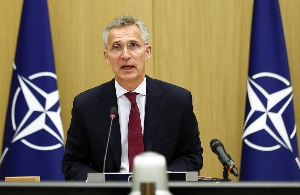 NATO Secretary General Jens Stoltenberg speaks during a video conference of NATO Defense Minister at the NATO headquarters in Brussels on June 17, 2020.