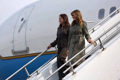 First lady Melania Trump and Karen Pence