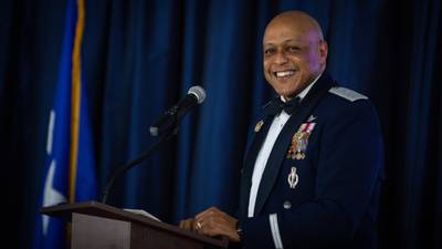 Lt. Gen. Anthony Cotton, Air Force Global Strike Command deputy commander, poses for a photo during AFGSC's 2020 Outstanding Airmen of the Year ceremony at Barksdale Air Force Base, Louisiana, April 22, 2021. (Senior Airman Max Miller/Air Force)