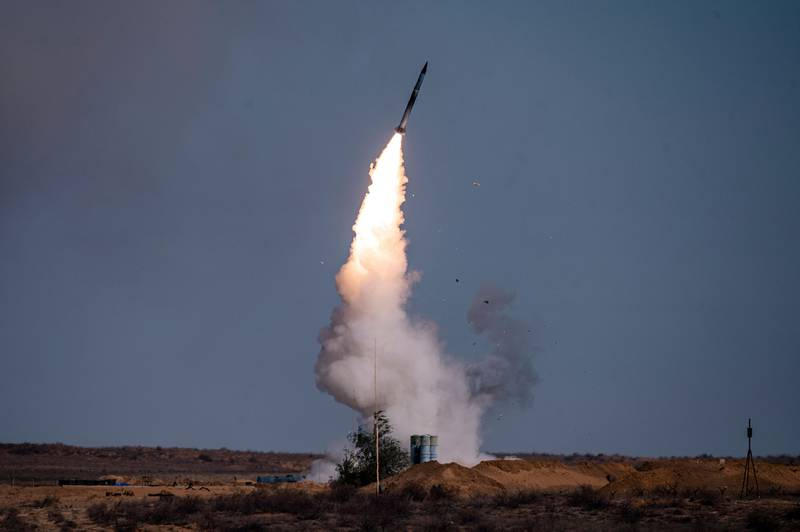 """A rocket launches from a S-400 missile system at the Ashuluk military base in southern Russia on Sept. 22, 2020, during the """"Caucasus-2020"""" military drills gathering China, Iran, Pakistan and Myanmar troops, along with ex-Soviet Armenia, Azerbaijan and Belarus."""