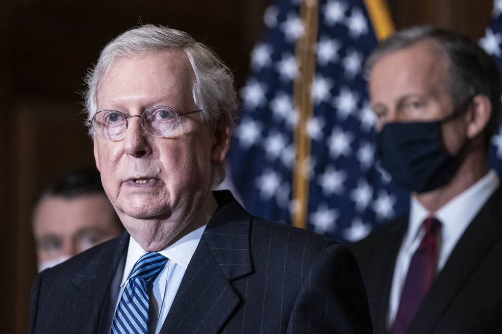 Senate Majority Leader Mitch McConnell of Kentucky, speaks during a news conference following a weekly meeting with the Senate Republican caucus, Tuesday, Dec. 8. 2020, at the Capitol in Washington.