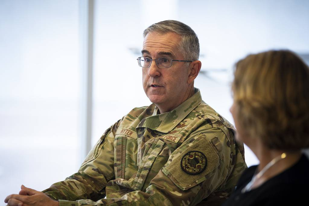 U.S. Air Force Academy cadets listen and ask questions with Gen. John Hyten at the academy in Colorado Springs, Colo., Sept. 8, 2020.