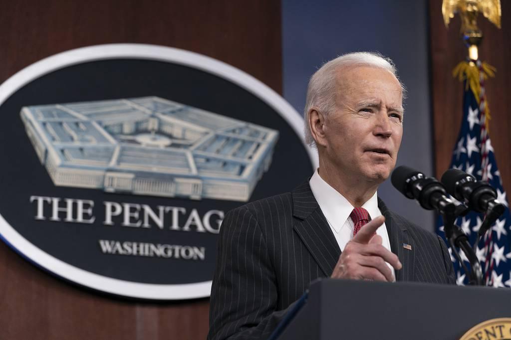 President Joe Biden speaks at the Pentagon, Wednesday, Feb. 10, 2021, in Washington.