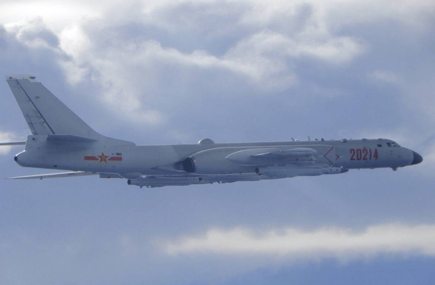 In this photo released by the Taiwan Ministry of National Defense, a Chinese People's Liberation Army H-6 bomber is seen flying near the Taiwan air defense identification zone, ADIZ, near Taiwan on Friday, Sept. 18, 2020.