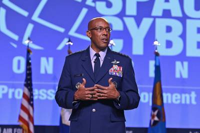 """Air Force Chief of Staff Gen. CQ Brown, Jr. answers questions after delivering his """"Accelerate Change to Empowered Airmen"""" speech during the 2021 Air Force Association Air, Space and Cyber Conference in National Harbor, Md., Sept. 20, 2021. (Eric Dietrich/Air Force)"""