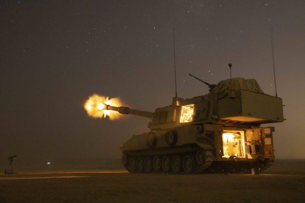 U.S. Army soldiers fire a M109A6 Paladin in support of the joint training exercise Eager Lion 19 at Training Area 1, Jordan, Aug. 27, 2019.