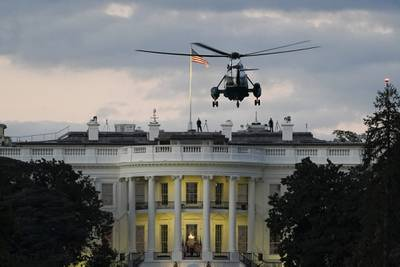 Marine One, with President Donald Trump onboard, prepares to land on the South Lawn of the White House on Oct. 5, 2020, in Washington.