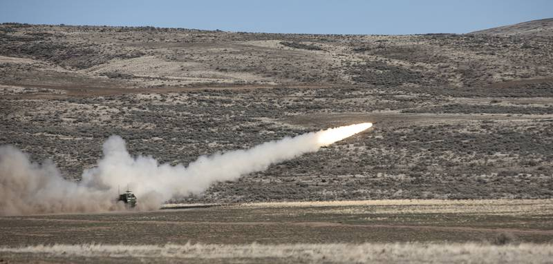 A High Mobility Artillery Rocket System (HIMARS) from A Battery, 5th Battalion, 3rd Field Artillery Regiment, 17th Field Artillery Brigade, launches a rocket in Yakima Training Center, Wash., during a live fire qualification range on March 11, 2020.