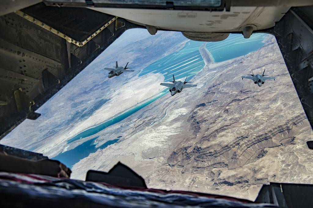 U.S. Air Force F-35A Lightning II and Israeli air force F-35I Lightning II aircraft approach a U.S. Air Force KC-10 Extender to refuel during exercise Enduring Lightning II over southern Israel Aug. 2, 2020.