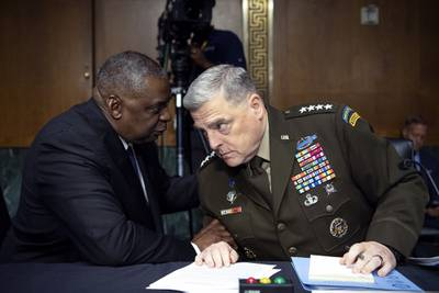 Secretary of Defense Lloyd Austin, left, and Chairman of the Joint Chiefs Chairman Gen. Mark Milley