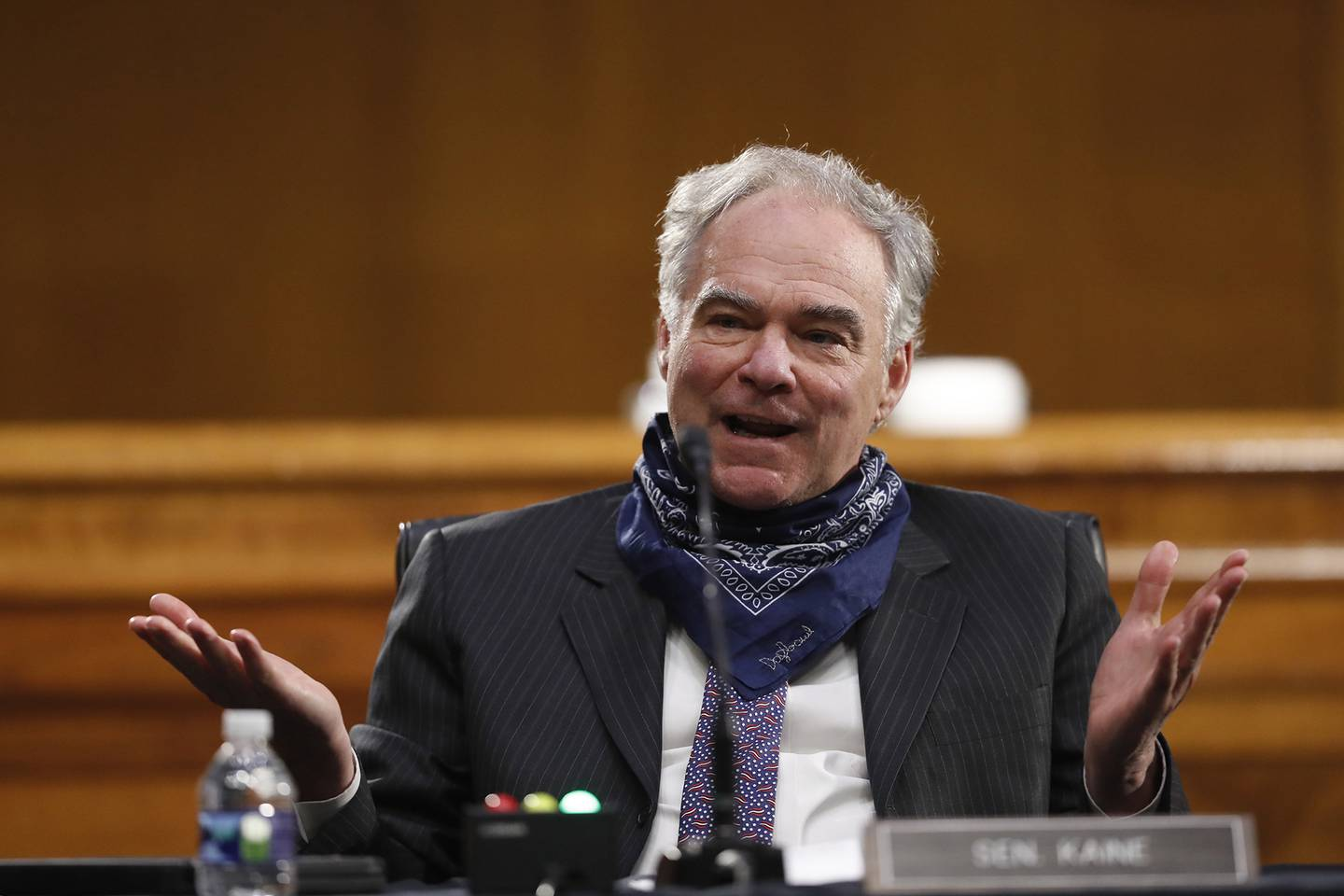 Sen. Tim Kaine, D-Va., speaks during a Senate Health Education Labor and Pensions Committee hearing on new coronavirus tests on Capitol Hill