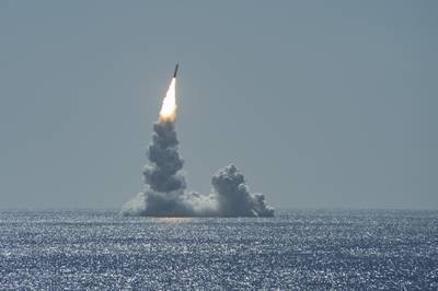 An unarmed Trident II missile launches from Ohio-class ballistic missile submarine USS Maine (SSBN 741) off the coast of San Diego on Feb. 12, 2020
