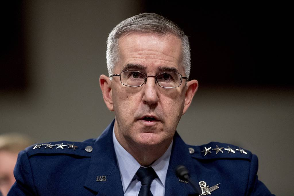 In this April 11, 2019, file photo, Gen. John Hyten, U.S. Strategic Command Commander,  testifies before a Senate Armed Services Committee hearing on Capitol Hill in Washington.