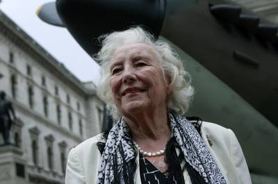 In this Aug. 20, 2010, file photo, Dame Vera Lynn attends a ceremony to mark the 70th anniversary of the Battle of Britain. in central London.
